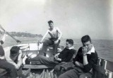 1958, 10TH JUNE - DAVE PARRY, 14 RECR., HAWKE, 47 MESS, 242 CLASS, PO TEL, ANSTEY, MY CLASS SAILING WITH JOHN EDDIE IN A CUTTER