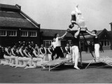 UNDATED - Display team practising outside Nelson Hall on the parade ground!