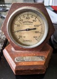 UNDATED - THERMOMETER MOUNTED IN WOOD FROM THE OLD ORIGINAL GANGES 1..jpg
