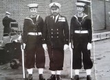 1966, 26TH JUNE - DAVID BARDSLEY, EXMOUTH, 41 MESS, GUARD DUTY, ME ON LEFT WITH CPO COXSWAIN KAVENAGH AND JOHN PATTERSON. G