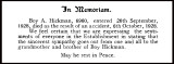 1928 - BOY HICKMAN - IN MEMORIAM - FROM THE SHOTLEY MAGAZINE