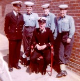 1965 - JNRs L TO R FRANK PYLE, RAY LAVALL, PETE WRIGHT. SEATED IS DOC HUNTER THE RUGBY COACH, A CHIEF S.B.A..JPG