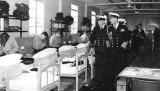 1956 1ST MAY - DAVID WICKHAM, ANNEXE, DUKE OF EDINBURGH'S VISIT, COMMISSIONED BOSUN HARDY BESIDE D OF E