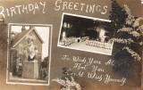 UNDATED - VERY RARE BIRTHDAY POST CARD - SHOWING TRAFALGARE FIGUREHEAD AND THE GYMNASIUM.jpg