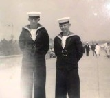 1962 - LESLIE SMITH, RODNEY, 30 MESS, 42 CLASS, MYSELF AND BARRY JOHNSON IN FELIXSTOWE AFTER PARENTS DAY.jpg