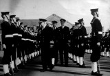 1949 - DIVISIONS, GUARD BEING INSPECTED BY A U.S. ADMIRAL FOLLOWED BY CAPT. ROBSON AND CDR. FARNWORTH.JPG