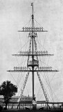 UNDATED -  THE MAST MANNED, NOTE THE BUTTON BOY SIGNALLING AND THE INSTRUCTOR BELOW.jpg