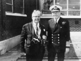 UNDATED - DICKIE DOYLE, MR. FISK WITH ADML. LE FANU WHO WAS CAPT. OF GANGES 1954-57.jpg