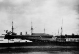 UNDATED - HMS GANGES, SHOTLEY PIER WITH FLOATING DOCK TO THE RIGHT 1.jpg