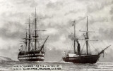 1886 - HMS GANGES UNDER TOW FROM HMS GLADIATOR AT FALMOUTH.jpg