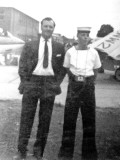1967 - ANDREW PATTERSON WITH HIS DAD ON PARENTS DAY, SEA HAWK ON LEFT SEA VENOM ON RIGHT.jpg