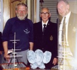 1988 - DICKIE DOYLE, JIM TOVERY, DSM AND GEOFF HILL, DURING MAST REPLICAS PRESENTATION, SEE SEPARATE PHOTOS OF THE REPLICAS