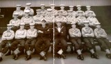 1957, JULY - TERRY CLARKE, GRENVILLE 66 OR 133 CLASS, TERRY IS MIDDLE ROW SECOND FROM RIGHT.
