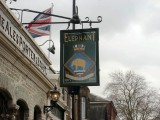 UNDATED - ERIC HOLMWOOD, JOINED GANGES MAY 1970, THE ELPEPHANT PUB's SIGN IN FAVERSHAM, KENT.jpg