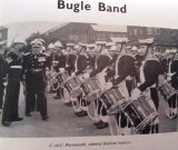 1966 - DICKIE DOYLE, ADMIRAL HOPKINS, C IN C PORTSMOUTH INSPECTING THE BUGLE BAND.jpg
