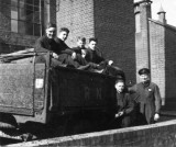 1950 - DICKIE DOYLE, 253 CLASS, WORK SHIP ROUTINE, COAL LORRY, I AM ON THE LEFT, A LDG BOY, MR GLOVER ON THE RIGHT.jpg