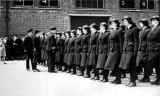 1940-45 - DICKIE DOYLE, WRNS BEING INSPECTED OUTSIDE NELSON HALL DURING WW II.jpg