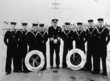 1955 - DICKIE DOYLE, CAPT. M. LE FANU, DSC, WITH 4 PAIRS OF TWINS, LATER AS ADMIRAL HE GAVE THE ORDER TO STOP THE TOT
