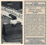1938 - PHISICAL TRAINING AT GANGES. CIAGARET CARD..jpg