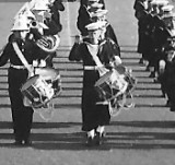 1958 - THOMAS OLSSON, BUGLE AND R.M. BANDS AFTER CEREMONIAL MAST MANNING, I AM SIDE DRUMMER NEXT TO RM SIDE DRUMMER, B.