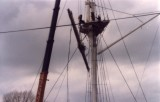 1988 - DICKIE DOYLE, MAST REFIT, DAMAGED LOWERED YARD BEING LOWERED.jpg