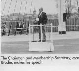 1989, 22ND APRIL - DICKIE DOYLE, DEDICATION OF THE MAST, MAC McBRODIE MAKING A SPEECH AFTER THE PARADE.JPG