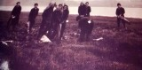1953 - BARRY WELLS, COLLINGWOOD, EAST COAST FLOODS, WE WERE HELPING, I AM 3RD LEFT BACK ROW WITH SACK ON HEAD, COLD.