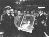 1976 - BERT TERRY, MYSELF AND STEW SOMERVILLE, INSTRS. IN FEARLESS DIVISION, PRESENTING PORTRAIT OF H.M. TO R.N.A. THETFORD