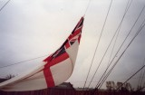 1989 - DICKIE DOYLE, THE SIZE 14 WHITE ENSIGN BEING LOWERED TO 'SUNSET' PLAYED BY RHS BAND, SEE NOTE BELOW.jpg