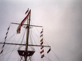1988, OCTOBER - DICKIE DOYLE, FLAG HOISTS AND SIZE 14 ENSIGN HOISTED AFTER FINAL STEPPING OF MAST FOR BBC LOOK EAST PROG.jpg