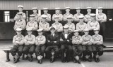 1957, JULY - ALEC WALLINGTON, INSTR. POSSIBLY CPO CATCHPOLE, SHEPHERD FAR LEFT 2ND ROW, BARLOW 2ND RIGHT FRONT ROW.jpg