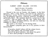 1935, 12TH FEBRUARY - ALBERT J.A. COTTON, JX144440, RODNEY, 14 MESS, OBITUARY FROM THE SHOTLEY MAG. A..jpg