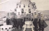 1957, 7TH MAY - DENIS WOODHAMS, 04 RECR., GRENVILLE, 17 MESS, CLASS VISIT TO HMS SUPERB OFF SHOTLEY, ROBBIE ROBERTS  2ND RIGHT