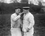 1914-1918 - TWO OLDER MEMBERS OF THE HARWICH MINESWEEPING FLEET, HAVING A SMOKE, AT RNTE SHOTLEY