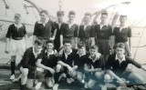 1957 - DUNCAN A. SMITH, DRAKE DIVISION, 62 CLASS, CUTTER CREW ON THE BOAT PIER, D..jpg