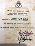 1975, OCTOBER - VITTORIO COX, RESOLUTION, 934 CLASS, INSTR. PO MATHEWS, SMALL BORE SHOOTING PRIZE CERTIFICATE