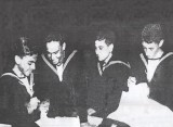 1952, 8TH SEPTEMBER - GUS BORG, DRAKE, 192 CLASS, SEWING OUR NAMES IN.jpg