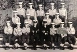 1965, 22ND OCTOBER - ROSS SIDE, BENBOW, 28 MESS, 160 CLASS, MY FATHER IS HOLDING THE BOARD AND TERRY ASHURST IS MIDDLE, BACK ROW
