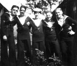 1948, 16TH MARCH - ARTHUR WOODWARD - RODNEY 254 CLASS, L TO R, ROY SMITH, NK, GERRY TIPPING, AJ SMITH AND ME.jpg
