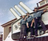 1972, 30TH MAY - PHILIP DAWSON, 34 RECR., DRAKE, 9 MESS, ON THE MORTAR, COLIN EASTWOOD ON THE RIGHT.jpg