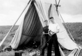 1960, 2ND MAY - PETER SWANN, WITH ROGER WARFIELD, HOLDING ALDIS LAMPS, EXPED TO MANINGTREE.jpg