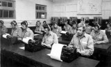 1966, 25TH APRIL -  GEG HOPKINS, EXMOUTH DIV. 239 CLASS, TOUCH TYPING LESSON IN THE SIGNAL SCHOOL.jpg