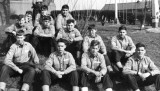 1964, OCTOBER - COLIN RICHARDSON, EXMOUTH, 41 MESS, OUTSIDE THE SIGNAL SCHOOL, I'M FRONT ROW 3RD LEFT.jpg