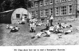 1954, 16TH MARCH - BRIAN COWARD, 79 RECR., ANNEXE, KEMPENFELT, 391 CLASS OUTSIDE THE SIGNAL SCHOOL.png