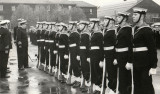 1967, 17TH APRIL -  MAX WALL, 92 RECR., DRAKE, 37 MESS, GUARD BEING INSPECTED BY THE CAPTAIN.jpg