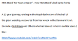 1941, 24TH MAY - JIM WORLDING, RECOVERY  AND DISPLAY OF HMS HOOD'S BELL. LINK BELOW IMAGE