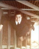 1975 - LYNETTE E. SOUCH, ON THE STAIRS UP TO THE WRNS QUARTERS.jpg