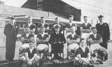 1959 - FROM SHOTLEY MAGAZINE, SHIP'S COMPANY FOOTBALL TEAM, BEAT IPSWICH POLICE 11-1, CPO KEN MASLIN ON RIGHT IN UNIFORM