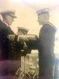 1957 - JOE ROLLS, MYSELF RECEIVING THE SEAMANSHIP TROPHY - NOT BAD FOR AN AIRY FAIRY.jpg