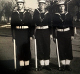 1961, APRIL - HAMISH GILMOUR, 40 RECR., DUNCAN, 22 MESS, I'M ON LEFT WITH KEN STUART & SCOUSE WALKER ON RIGHT.jpg